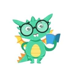 Little Anime Style Smart Bookworm Baby Dragon vector image vector image