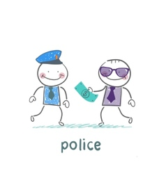 Police taking money from businessman vector image vector image