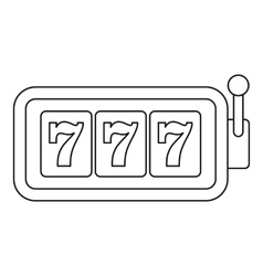 Slot machine with three sevens icon outline style vector image