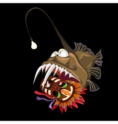 Angler fish with indian mask on a black background vector image