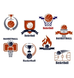 Basketball tournament and emblem designs vector image vector image