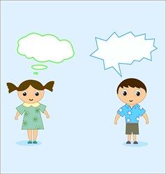boy and girl talk vector image vector image