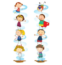 Cartoon Kids Activities vector image vector image