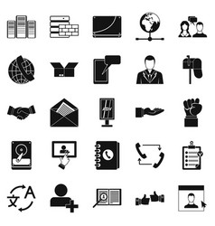 cooperation icons set simple style vector image