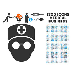 doctor head icon with 1300 medical business icons vector image vector image