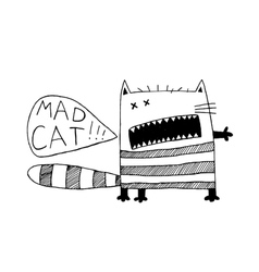 Freaky cat funny fancy hand drawn animal black vector image vector image