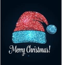 Hat of Santa Claus Glitter design vector image vector image