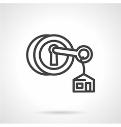 Lock with key black line icon vector image vector image