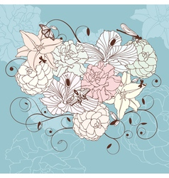 romantic floral heart vector image vector image