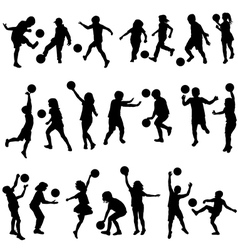 Set of children silhouettes playing with balls vector image vector image