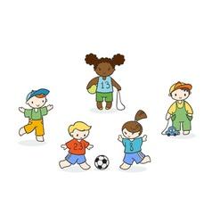 Set of cute doodle children vector