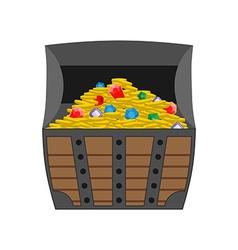 Treasure chest Gold and precious stones in open vector image