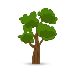 A stylized drawing of a green curly oak vector image vector image