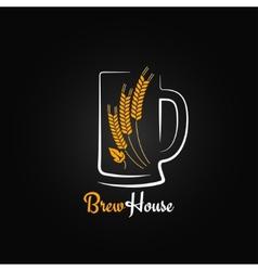 beer bottle glass barley design menu background vector image vector image
