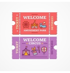 Circus and Amusement Park Tickets Flat Icon Set vector image vector image