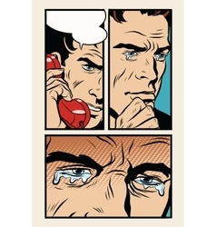 Comic storyboard man on the phone and cries vector image vector image