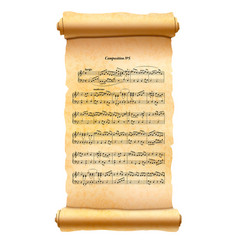 old textured scroll with musical composition sheet vector image vector image