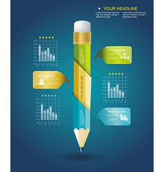 Business Design Template with Pencil ribbon vector image vector image