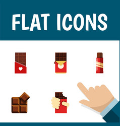 Flat icon chocolate set of cocoa sweet shaped vector