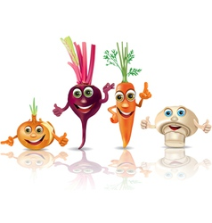 Funny vegetables onion beet carrot mushroom vector