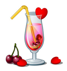 glass of cocktail with straw hearts and cherry vector image