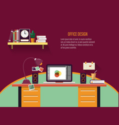office workplace interior concept for business vector image