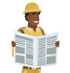 young african-american traveler reading newspaper vector image vector image