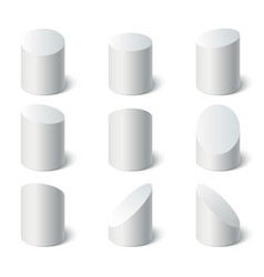 3d geometric shapes set set of white stand vector