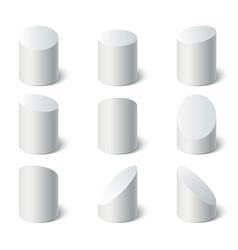 3d geometric shapes set set white stand vector image