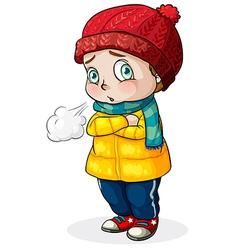 A Caucasian baby feeling cold vector