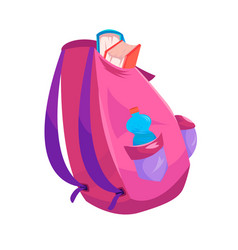 A pink backpack from which textbooks stick out and vector