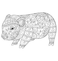 Adult coloring bookpage a cute little pig image vector
