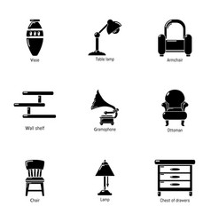 Antique room icons set simple style vector