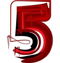 Artistic font number 5 vector