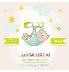Baby Cat Sleeping - Baby Shower or Arrival Card vector