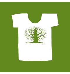 Big tree green on white t-shirt for your design vector