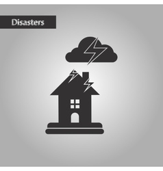 Black and white style lightning house vector