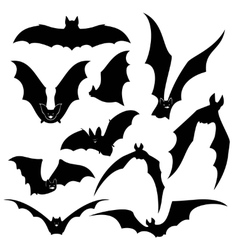 Black bats silhouettes set vector