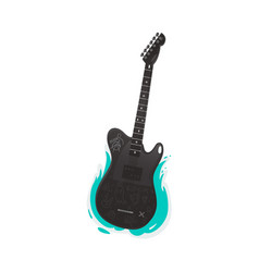 black electric guitar rock music instrument vector image