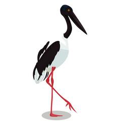 Black necked stork cartoon bird vector