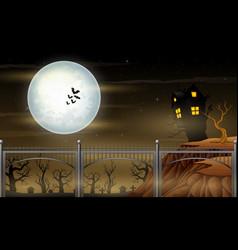 Bridge and moonlight halloween night landscape vector