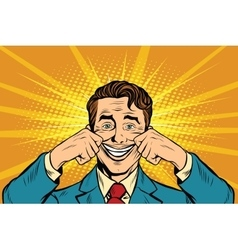 Businessman smiling falsely vector