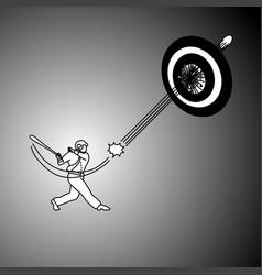 businessman with baseball hat using bat hitting vector image