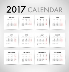 Calendar for 2017 for organization and business vector image