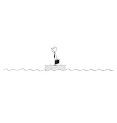 Cartoon of businessman standing alone on the raft vector
