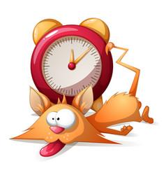cartoon sleep funny cute cat and alarm clock vector image