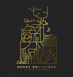 christmas and new year gold outline deer card vector image