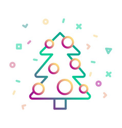 christmas tree decorated with balls icon vector image