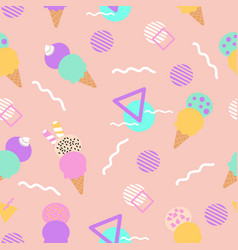 Colorful ice cream in a seamless pattern design vector