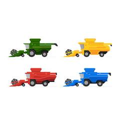 Combine harvesters set vector